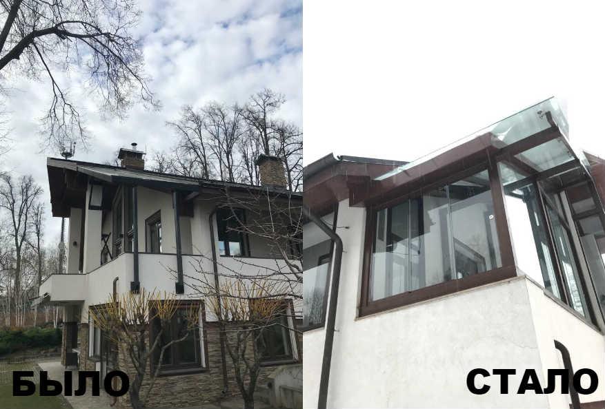 Безрамное остекление балкона, стеклянная крыша, Москва